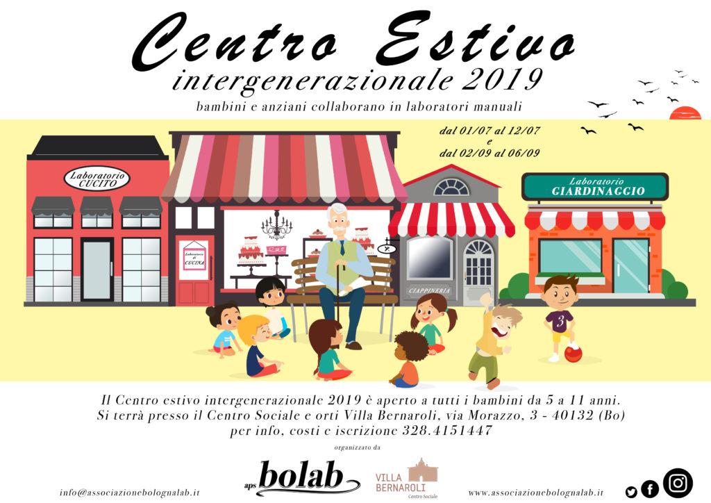 Centro estivo intergenerazionale 2019 organizzato da Aps Bolab in collaborazione con il Centro sociale e orti Villa Bernaroli